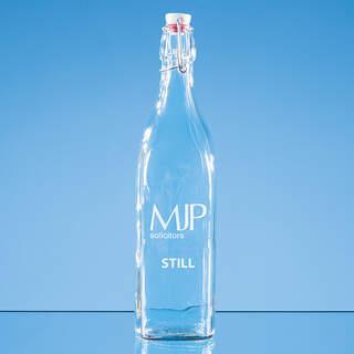 1ltr Square White Cap Swing Top Bottle - not suitable for carbonated liquids