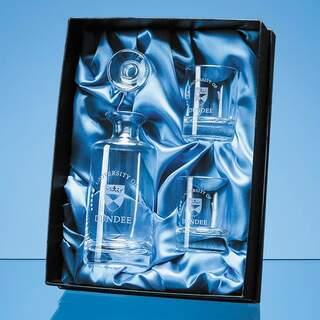 0.15ltr Handmade Round Mini Decanter & 2 Shot Glasses Gift Set