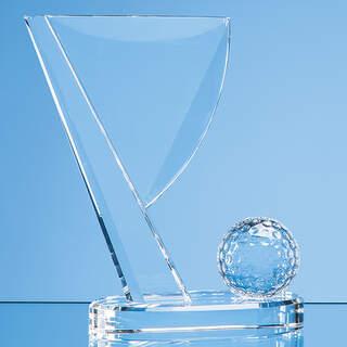 14cm Optical Crystal Golf Ball & Flag Award